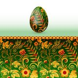 Teste padrão estilizado do khokhloma do russo do ovo da páscoa colorido Imagem de Stock