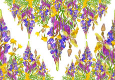 Teste padrão estilizado do ramalhete floral Foto de Stock