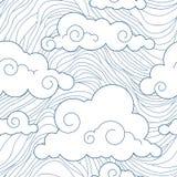 Teste padrão estilizado sem emenda das nuvens Fotos de Stock Royalty Free