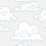 Teste padrão estilizado sem emenda das nuvens Imagens de Stock