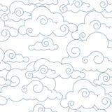 Teste padrão estilizado sem emenda das nuvens Foto de Stock Royalty Free