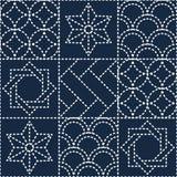 Teste padrão estofando azul japonês Imagens de Stock