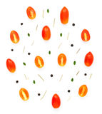 Teste padrão europeu colorido feito dos tomates, pimenta dos ingredientes, Fotos de Stock Royalty Free
