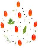 Teste padrão europeu colorido feito dos tomates, pimenta dos ingredientes, Imagem de Stock
