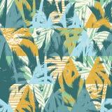 Teste padrão exótico sem emenda com folhas de palmeira no fundo geométrico Foto de Stock Royalty Free