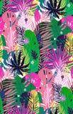 Teste padrão exótico sem emenda com folhas de palmeira tropicais sarapintados, fundo do verão Ilustração botânica do vetor, proje Fotos de Stock
