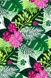 Teste padrão exótico sem emenda com folhas de palmeira verdes cor-de-rosa no fundo branco Ilustração do vetor Fotos de Stock Royalty Free