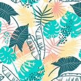 Teste padrão exótico sem emenda com plantas tropicais Imagem de Stock