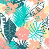Teste padrão exótico sem emenda com plantas tropicais Foto de Stock Royalty Free