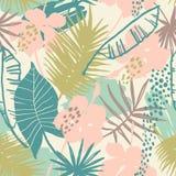 Teste padrão exótico sem emenda com plantas tropicais Imagem de Stock Royalty Free