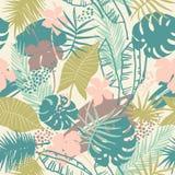 Teste padrão exótico sem emenda com plantas tropicais Fotografia de Stock Royalty Free