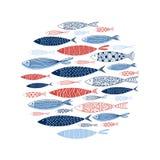 Teste padrão feito de peixes decorativos Imagem de Stock Royalty Free