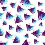 Teste padrão feito dos triângulos e da samambaia imagem de stock royalty free