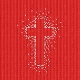 Teste padrão feito malha do estilo cor branca vermelha sem emenda Fotografia de Stock Royalty Free