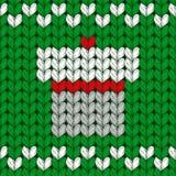 Teste padrão feito malha Natal com caixa atual Imagem de Stock Royalty Free