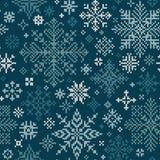 Teste padrão feito malha sem emenda com branco e flocos de neve de turquesa Imagem de Stock Royalty Free