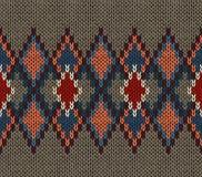 Teste padrão feito malha sem emenda Cor branca azul vermelha de Brown Estilo moderno da juventude elegante Fotografia de Stock Royalty Free