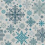 Teste padrão feito malha sem emenda de flocos de neve de turquesa Fotos de Stock