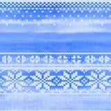 Teste padrão feito malha sem emenda do vetor com flocos de neve Fotos de Stock Royalty Free