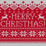 Teste padrão feito malha sem emenda escandinavo do Feliz Natal Fotos de Stock Royalty Free