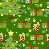 Teste padrão feliz do feriado com árvore de Natal, um presente, um sino, floco de neve Foto de Stock
