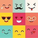 Teste padrão feliz do vetor dos emoticons Grupo positivo de moji Imagens de Stock