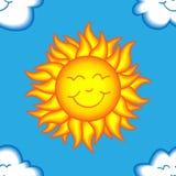 Teste padrão feliz sem emenda do sol e da nuvem Imagens de Stock Royalty Free