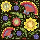 Teste padrão floral étnico no fundo preto Imagem de Stock