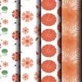 Teste padrão floral abstrato alaranjado sem emenda dos grupos Fotos de Stock Royalty Free