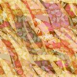 Teste padrão floral abstrato brilhante sem emenda no fundo alaranjado Imagem de Stock Royalty Free