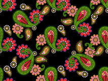 Teste padrão floral abstrato do vetor das garatujas Fotos de Stock