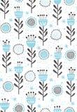 Teste padrão floral abstrato do vetor Flores bonitos e galhos azuis e pretos Projeto infantil em um fundo branco ilustração do vetor
