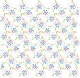 Teste padrão floral abstrato nas linhas brancas, diagonais Flores cor-de-rosa, azuis, folhas verdes, contornos pretos, mola, verã Foto de Stock Royalty Free