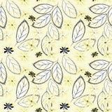 Teste padrão floral abstrato sem emenda Flores amarelas, folhas no fundo claro Fotografia de Stock