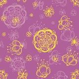 Teste padrão floral abstrato sem emenda tirado mão Ilustração do Vetor