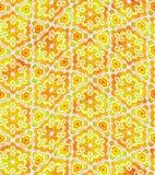 Teste padrão floral alaranjado e amarelo abstrato, fundo da textura da telha, ilustração sem emenda ornamentado Imagens de Stock Royalty Free