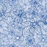 Teste padrão floral azul Fotos de Stock