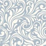 Teste padrão floral azul do vintage e branco sem emenda Ilustração do vetor Imagem de Stock Royalty Free