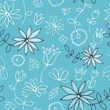 Teste padrão floral azul fresco Fotografia de Stock Royalty Free