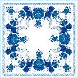 Teste padrão floral azul nacional do russo Fotografia de Stock