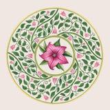 Teste padrão floral bonito em um quadro do círculo Fotos de Stock Royalty Free
