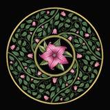 Teste padrão floral bonito em um quadro do círculo Fotografia de Stock