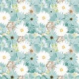 Teste padrão floral bonito Teste padrão sem emenda Flores Botões brilhantes, folhas, flores Flores para cartões, cartazes, inseto Fotos de Stock
