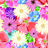 Teste padrão floral bonito Teste padrão sem emenda Flores Botões brilhantes, folhas, flores Flores para cartões, cartazes, inseto Imagens de Stock Royalty Free