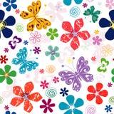 Teste padrão floral branco sem emenda da mola Imagens de Stock Royalty Free