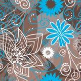 teste padrão floral Café-e-azul Fotografia de Stock