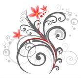 Teste padrão floral cinzento Fotografia de Stock