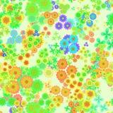 Teste padrão floral colorido abstrato, flores multicoloridos, flores do verde, do amarelo, as alaranjadas e as azuis, fundo sem e Imagens de Stock