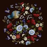 Teste padrão floral colorido do bordado ilustração do vetor