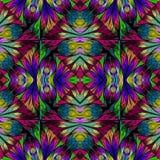 Teste padrão floral colorido no estilo da janela de vidro colorido Você c Fotos de Stock Royalty Free